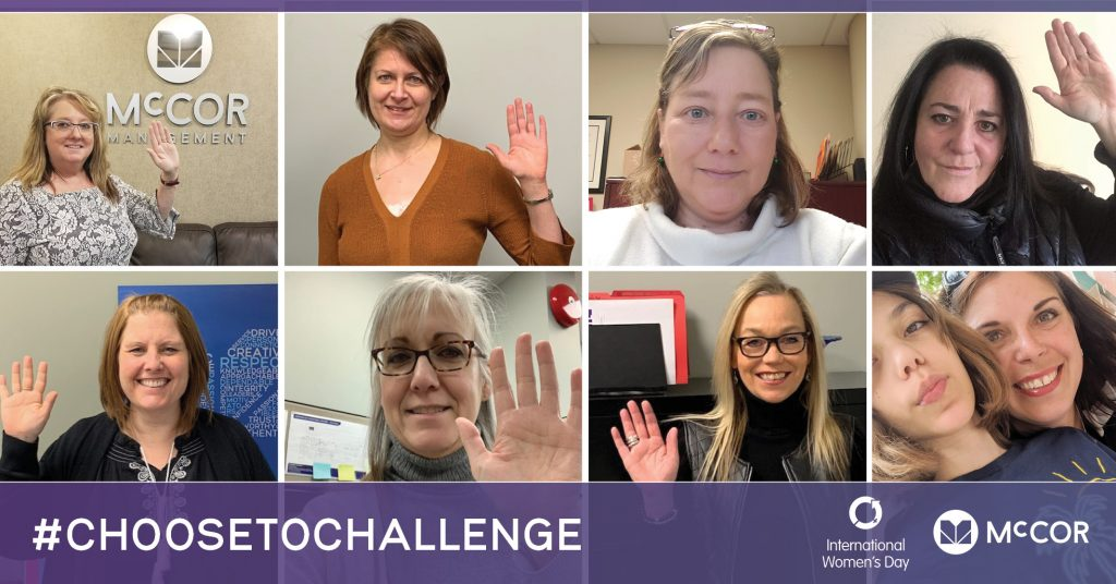 A collage of 8 woman who work at McCOR raising their right hand in support of International Womans Day
